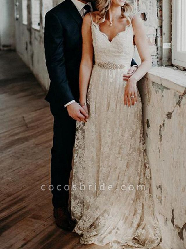 A-Line Wedding Dresses V Neck Sweep \ Brush Train Lace Spaghetti Strap Country Romantic Plus Size Backless
