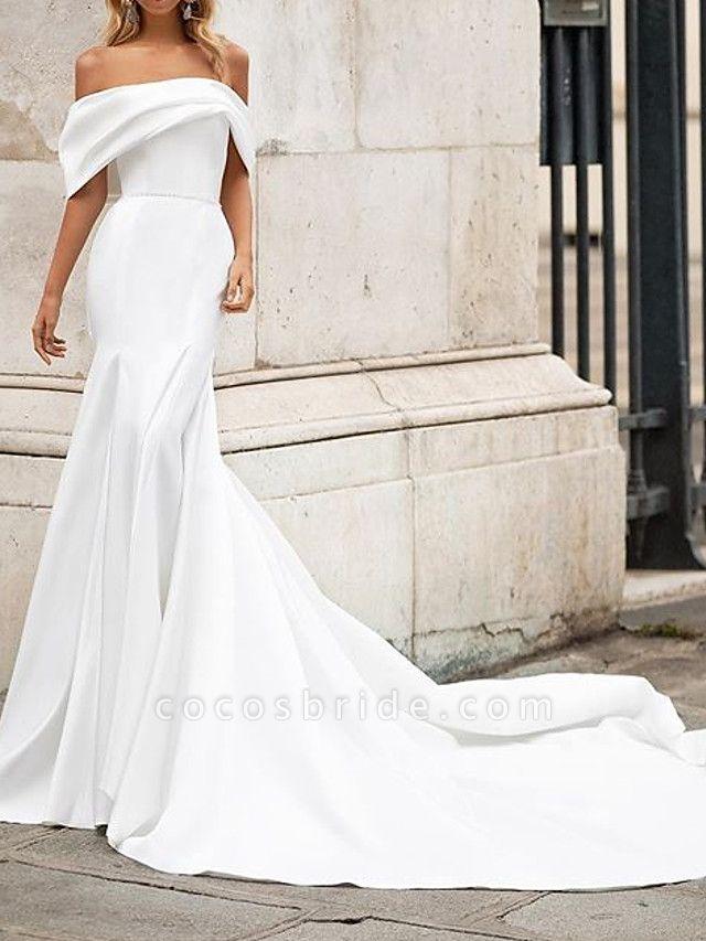Mermaid \ Trumpet Wedding Dresses Off Shoulder Court Train Satin Short Sleeve Country Plus Size