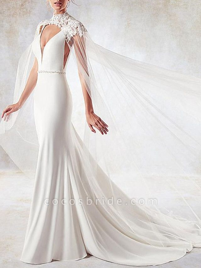 Mermaid \ Trumpet Wedding Dresses V Neck Sweep \ Brush Train Lace Tulle Stretch Satin Sleeveless Simple Sexy Backless Cape