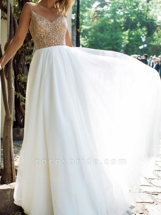 A-Line Wedding Dresses V Neck Spaghetti Strap Sweep \ Brush Train Tulle Stretch Satin Sequined Sleeveless Country Plus Size