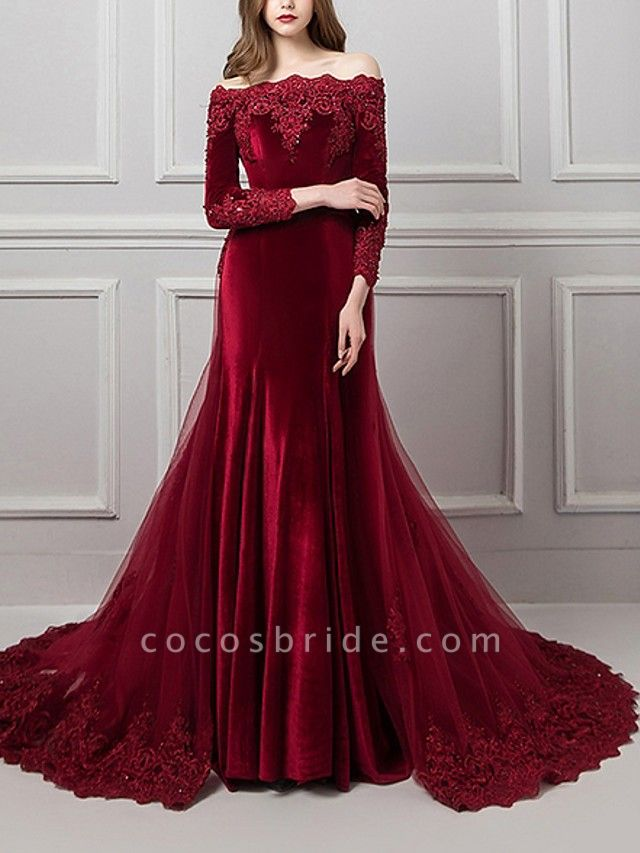 Mermaid \ Trumpet Beautiful Back Red Engagement Formal Evening Dress Off Shoulder Long Sleeve Chapel Train Polyester