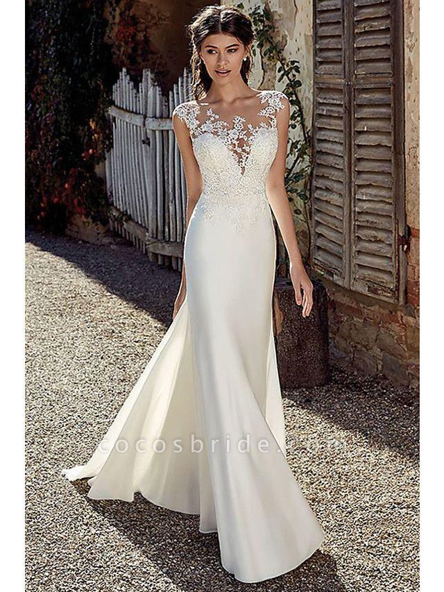 A-Line Wedding Dresses Bateau Neck Court Train Chiffon Lace Tulle Cap Sleeve Illusion Detail Backless