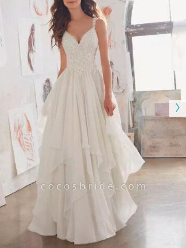 A-Line Wedding Dresses Sweetheart Neckline Sweep \ Brush Train Chiffon Lace Spaghetti Strap Sexy See-Through Illusion Detail Backless