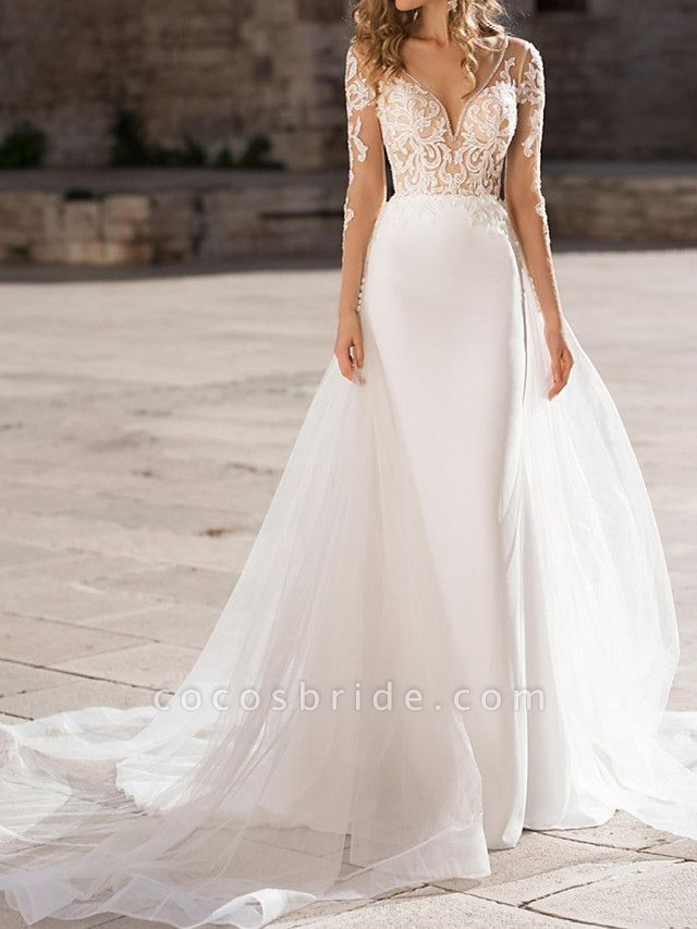 Sheath \ Column Plunging Neck Sweep \ Brush Train Polyester Long Sleeve Country Plus Size Wedding Dresses