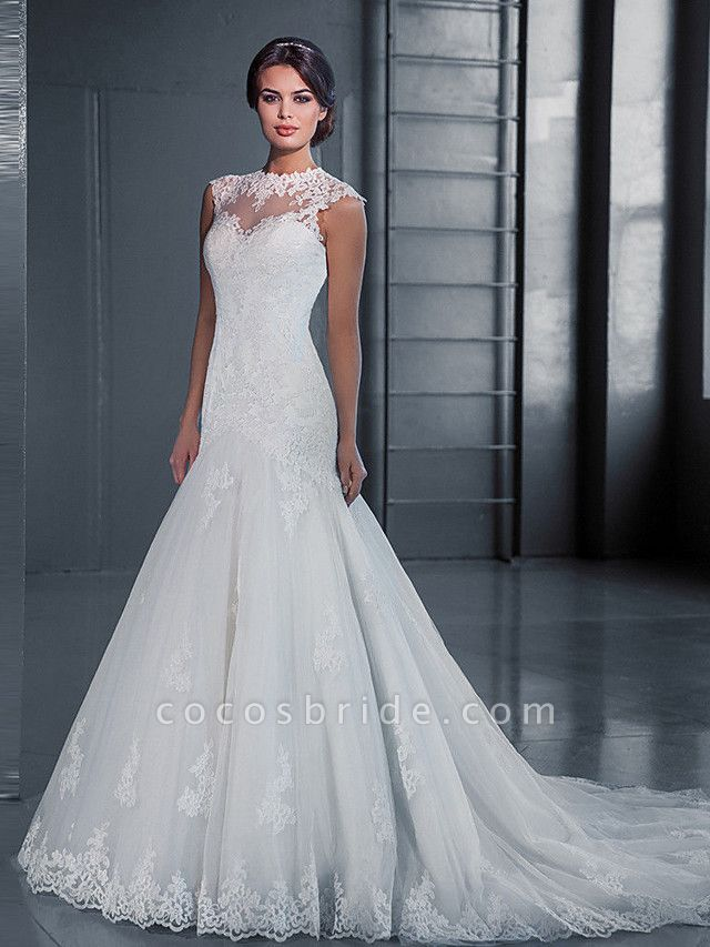 Mermaid \ Trumpet Wedding Dresses Jewel Neck Court Train Lace Tulle Sleeveless Formal