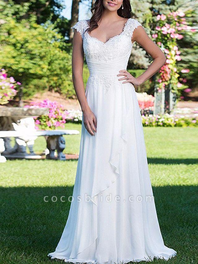 A-Line Wedding Dresses V Neck Court Train Chiffon Cap Sleeve