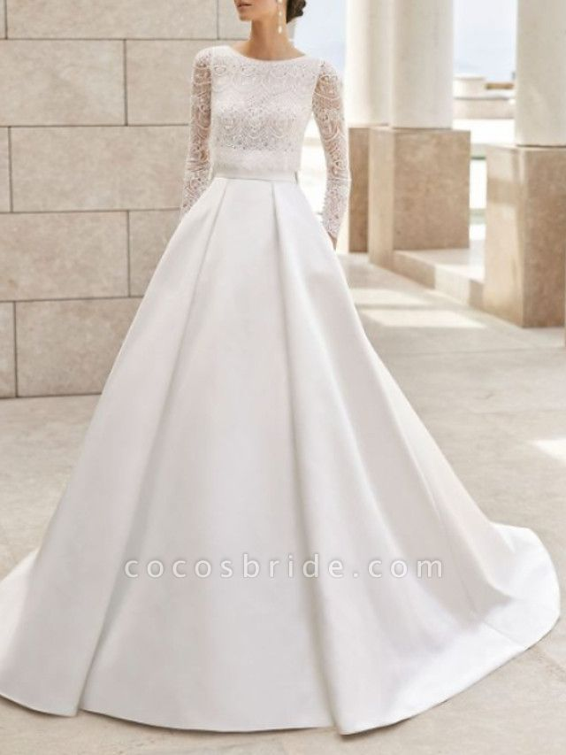 A-Line Wedding Dresses Jewel Neck Court Train Lace Satin Long Sleeve Simple Elegant