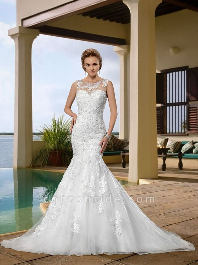 Mermaid \ Trumpet Wedding Dresses Scoop Neck Court Train Lace Regular Straps Country
