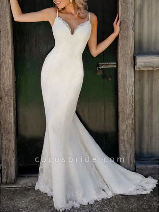 Mermaid \ Trumpet Wedding Dresses V Neck Sweep \ Brush Train Lace Satin Spaghetti Strap Plus Size