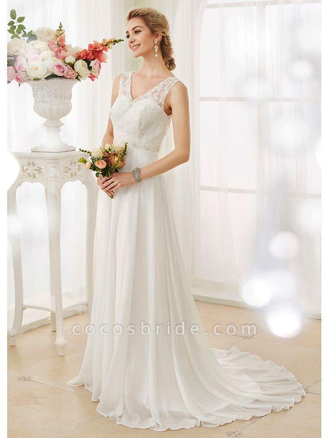 A-Line Wedding Dresses V Neck Court Train Chiffon Lace Bodice Regular Straps Sexy Illusion Detail Backless