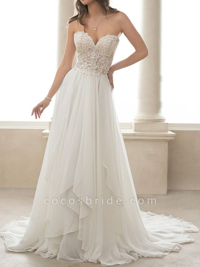 A-Line Wedding Dresses Sweetheart Neckline Sweep \ Brush Train Lace Tulle Strapless Romantic Simple Backless