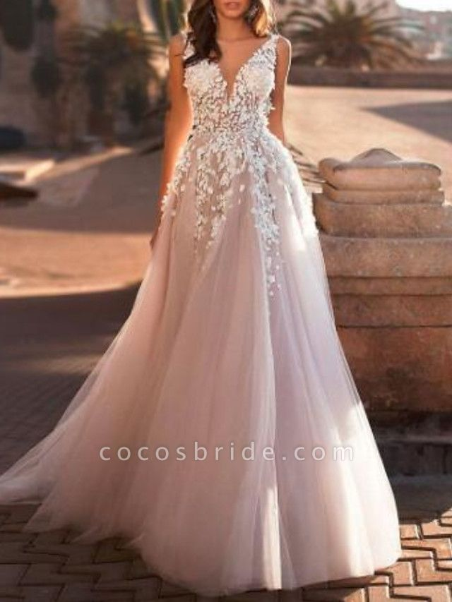 A-Line Wedding Dresses V Neck Sweep \ Brush Train Lace Tulle Regular Straps Mordern See-Through