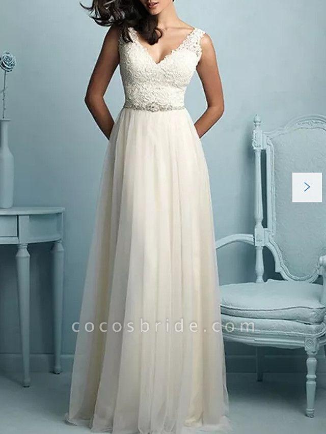 A-Line Wedding Dresses V Neck Sweep \ Brush Train Tulle Sleeveless Casual Plus Size