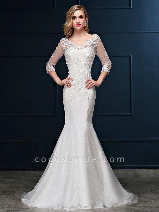 Mermaid \ Trumpet Wedding Dresses V Neck Sweep \ Brush Train Lace Over Tulle 3\4 Length Sleeve Romantic Glamorous Sparkle & Shine Backless Illusion Sleeve