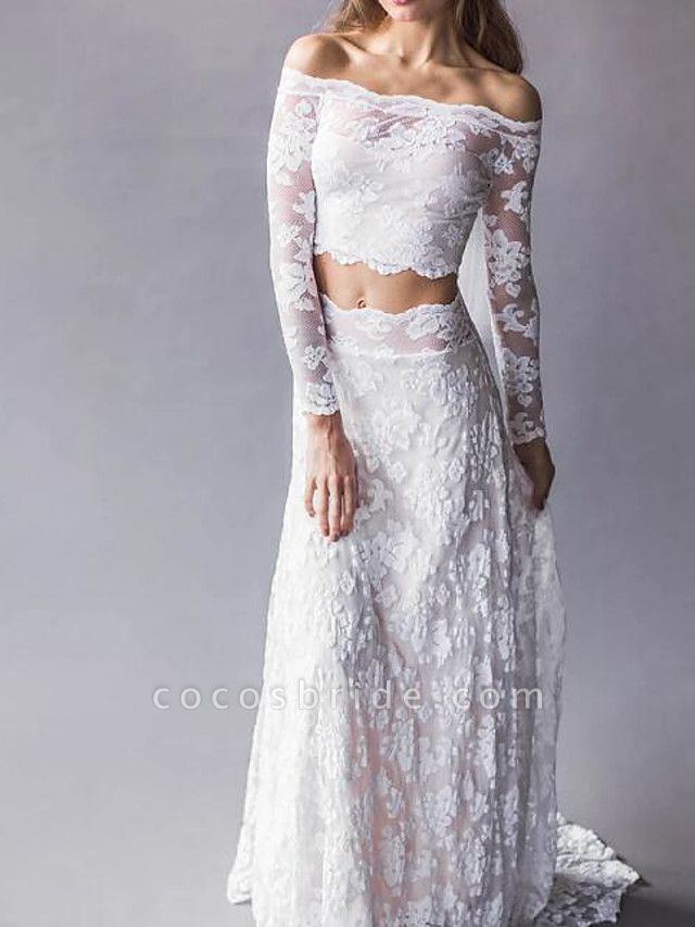 Two Piece Wedding Dresses Off Shoulder Sweep \ Brush Train Lace Long Sleeve Beach Boho Sexy See-Through