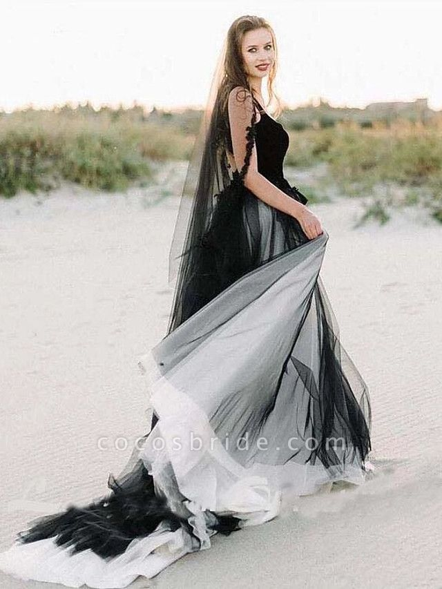 A-Line Wedding Dresses Scoop Neck Sweep \ Brush Train Lace Tulle Sleeveless Sexy Plus Size Black Modern