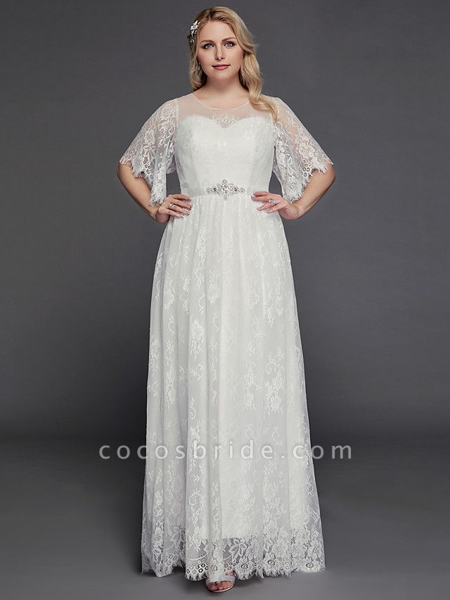 A-Line Wedding Dresses Illusion Neck Jewel Neck Floor Length Lace Tulle Half Sleeve Formal Boho Little White Dress See-Through
