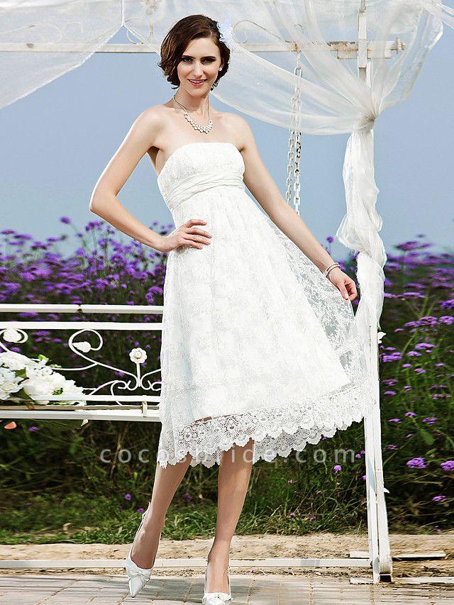 Princess A-Line Wedding Dresses Strapless Tea Length Lace Sleeveless Little White Dress