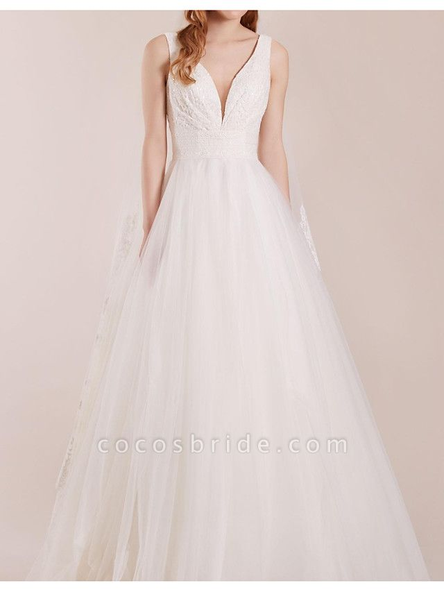A-Line Wedding Dresses Plunging Neck Floor Length Polyester Sleeveless Country Plus Size