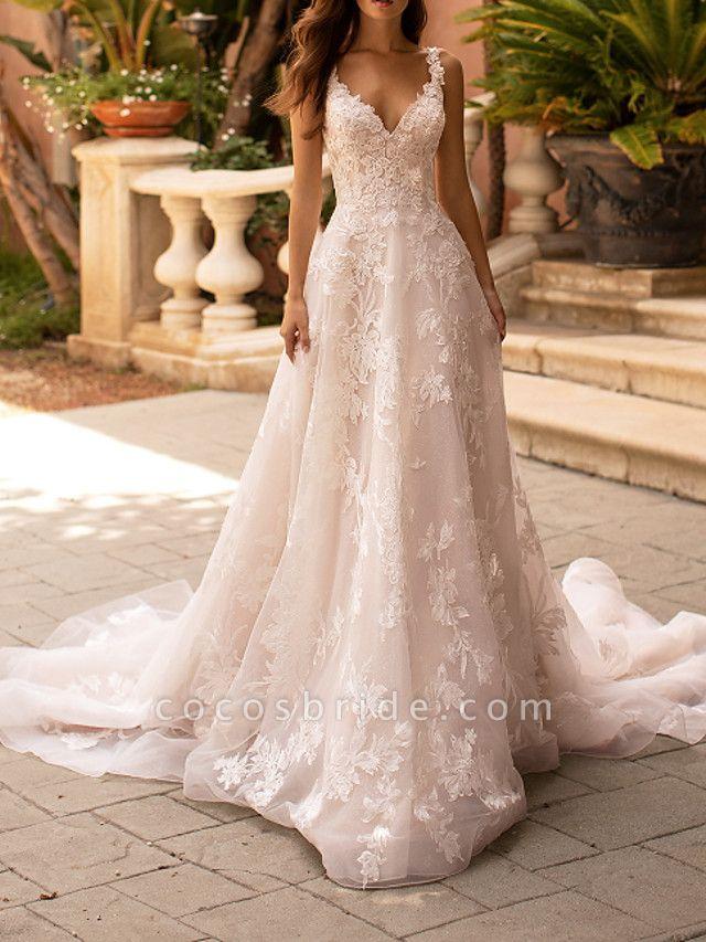 A-Line V Neck Court Train Polyester Sleeveless Formal Plus Size Wedding Dresses