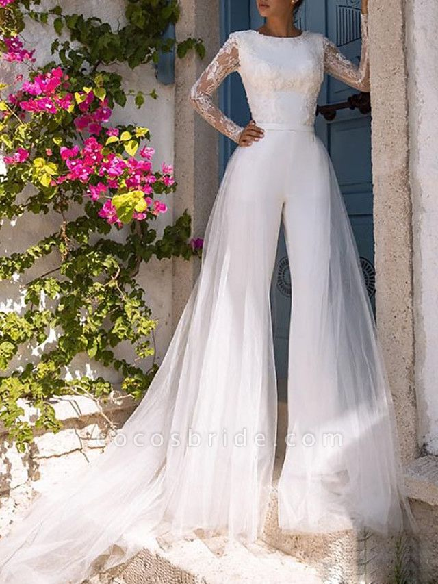 Jumpsuits Wedding Dresses Jewel Neck Court Train Lace Tulle Polyester Long Sleeve Illusion Sleeve