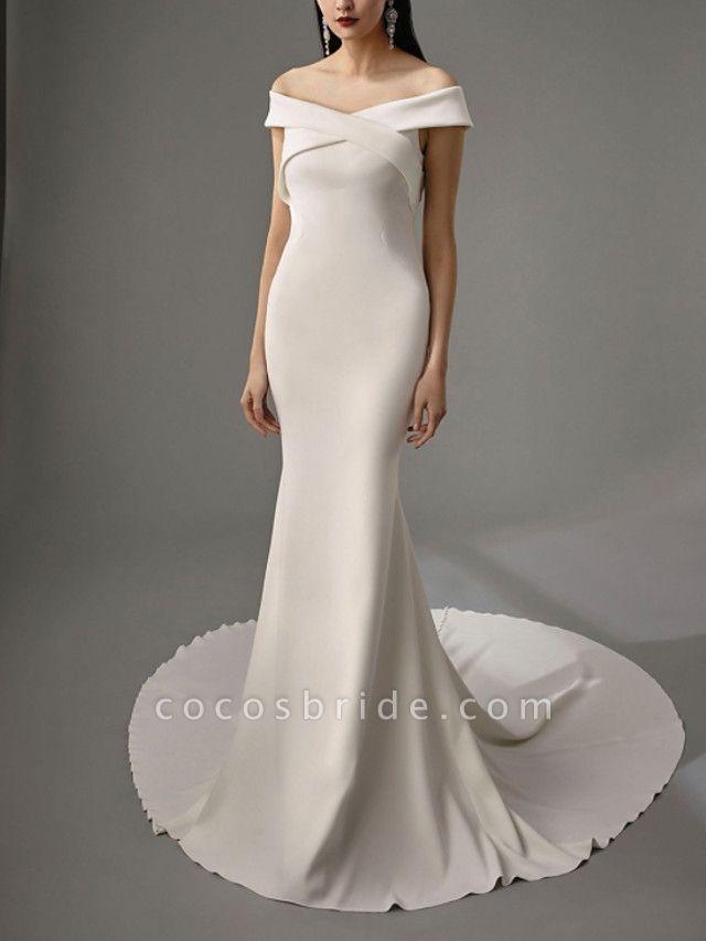 Lt8036995 Off The Shoulder Mermaid Vintage Bohemian Wedding Dress