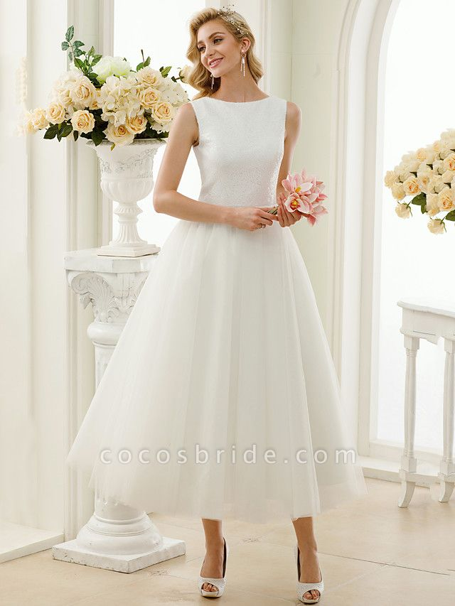 A-Line Wedding Dresses Bateau Neck Tea Length Tulle Sequined Regular Straps Simple Little White Dress