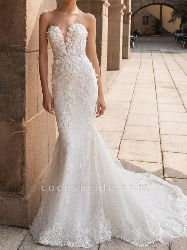 Mermaid \ Trumpet Wedding Dresses Sweetheart Neckline Court Train Lace Strapless Mordern Sparkle & Shine