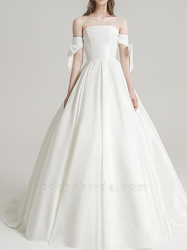 A-Line Wedding Dresses Off Shoulder Sweep \ Brush Train Satin Short Sleeve Beach
