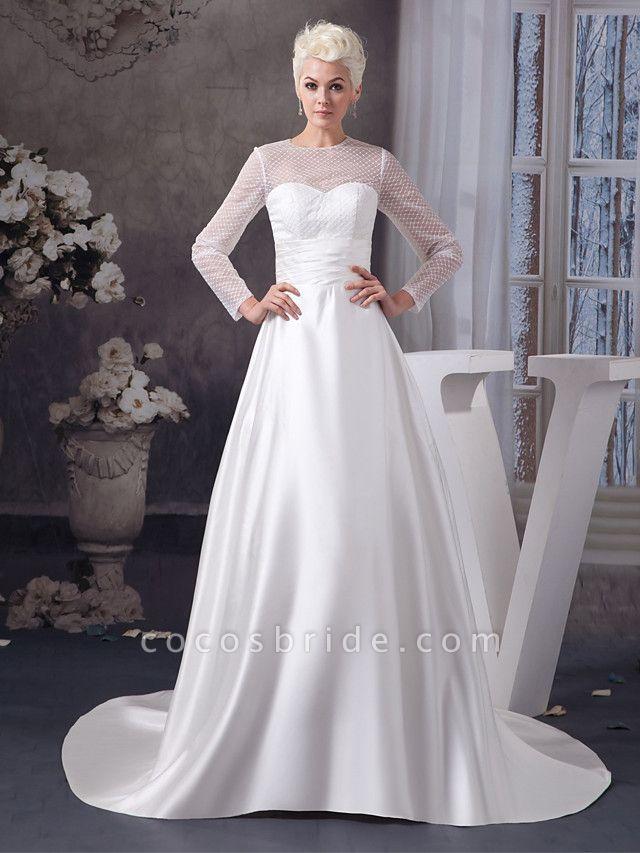 A-Line Wedding Dresses Jewel Neck Court Train Satin Tulle 3\4 Length Sleeve Illusion Sleeve