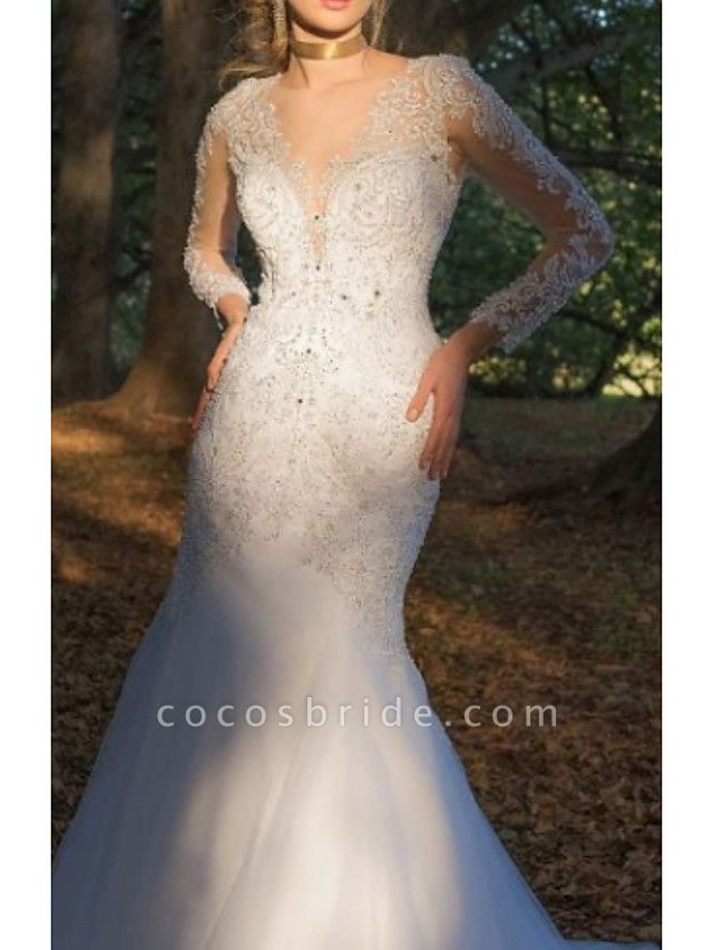 Mermaid \ Trumpet Wedding Dresses V Neck Court Train Tulle Charmeuse Long Sleeve Formal Plus Size