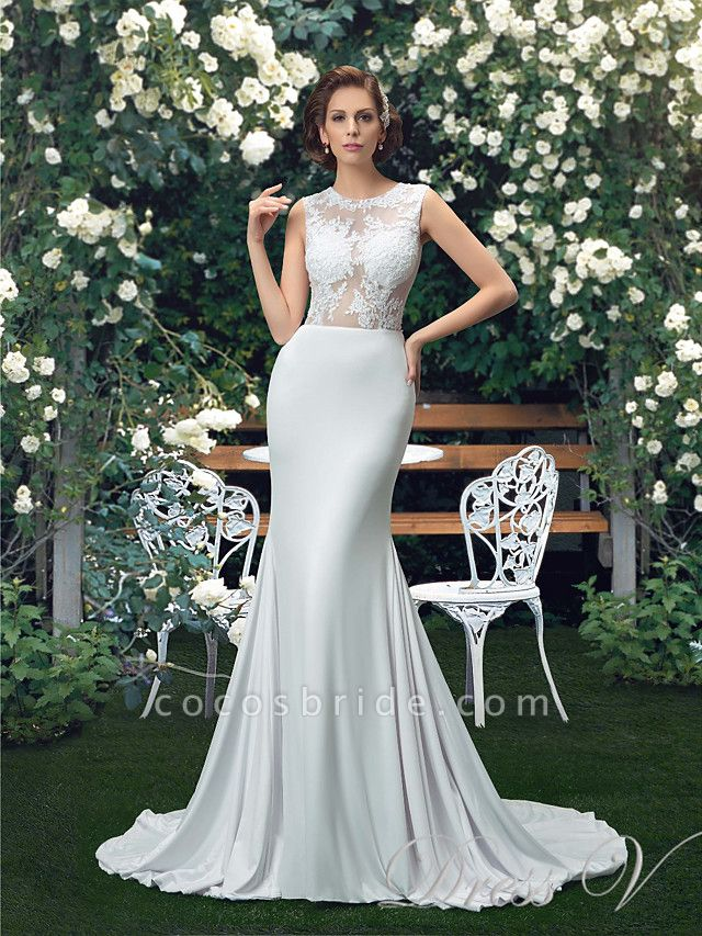 Mermaid \ Trumpet Wedding Dresses Jewel Neck Court Train Polyester Regular Straps Sexy
