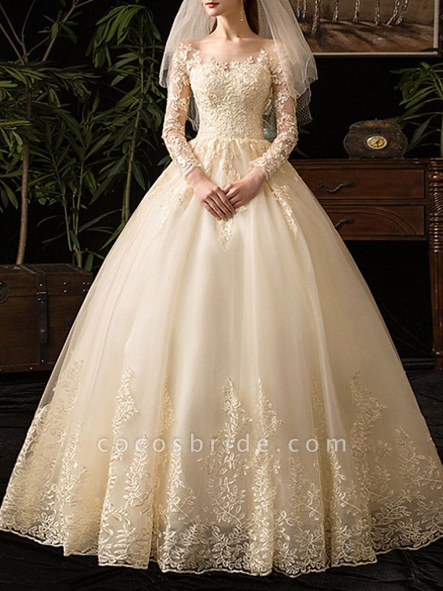 A-Line Wedding Dresses Scoop Neck Floor Length Lace Long Sleeve Glamorous See-Through Illusion Sleeve