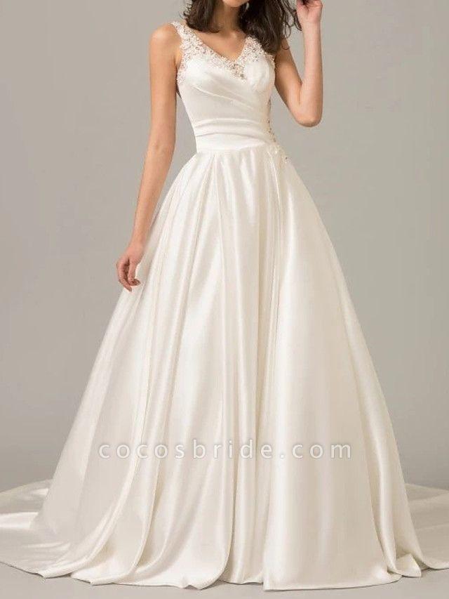 A-Line Wedding Dresses V Neck Sweep \ Brush Train Polyester Sleeveless Formal Plus Size