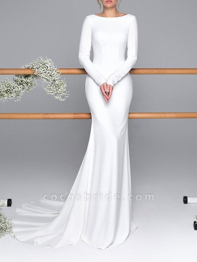 Mermaid \ Trumpet Wedding Dresses Bateau Neck Sweep \ Brush Train Satin Long Sleeve Mordern Backless