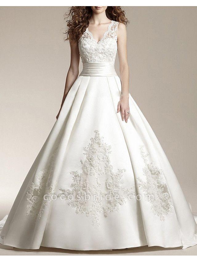 A-Line Wedding Dresses V Neck Court Train Satin Tulle Sleeveless Formal Illusion Detail Plus Size