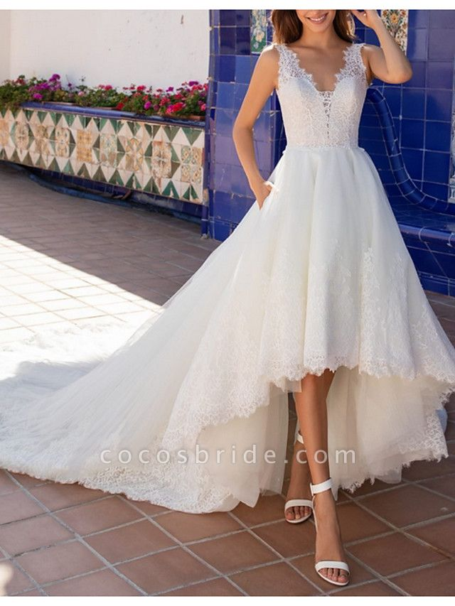 A-Line Wedding Dresses V Neck Court Train Lace Regular Straps Plus Size