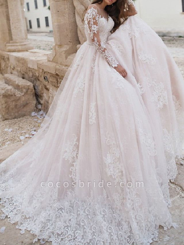 A-Line Jewel Neck Sweep \ Brush Train Lace Tulle Long Sleeve Country Sexy Wedding Dress in Color Illusion Sleeve Wedding Dresses