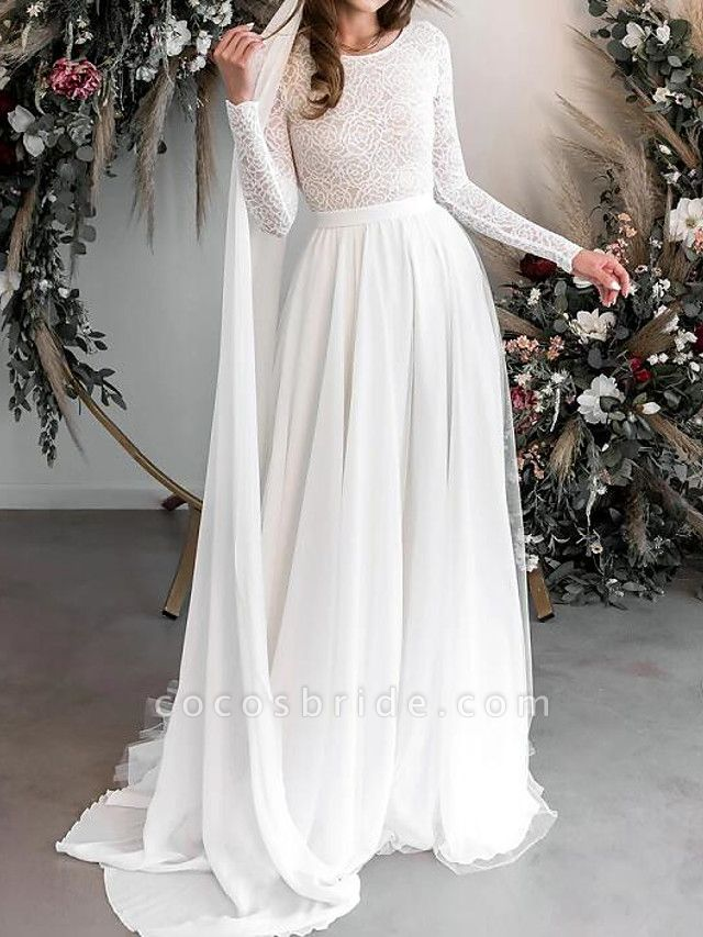 A-Line Wedding Dresses Jewel Neck Floor Length Chiffon Lace Long Sleeve Country Plus Size
