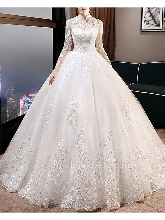 A-Line Wedding Dresses High Neck Court Train Lace 3\4 Length Sleeve Glamorous Illusion Sleeve