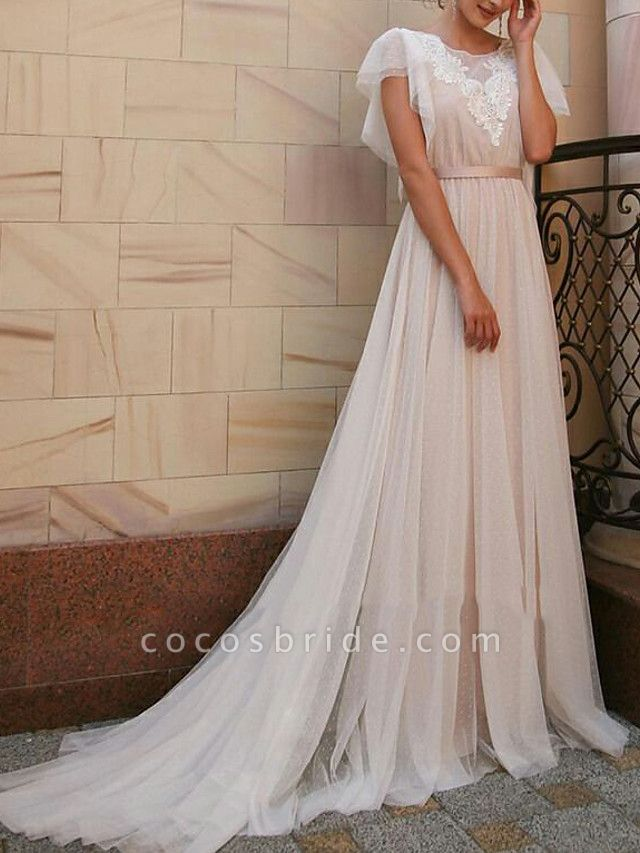A-Line Wedding Dresses Jewel Neck Sweep \ Brush Train Tulle Short Sleeve Beach Boho Illusion Detail Backless