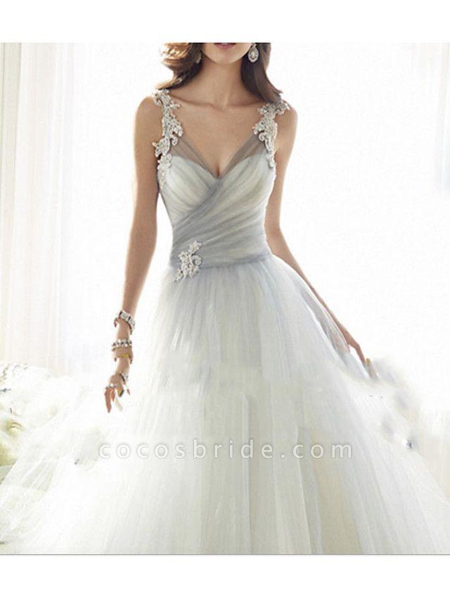 A-Line Wedding Dresses V Neck Floor Length Tulle Regular Straps Formal Plus Size