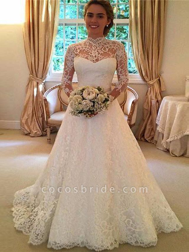 A-Line High Neck Sweep \ Brush Train Lace 3\4 Length Sleeve Lace Illusion Sleeve Wedding Dresses