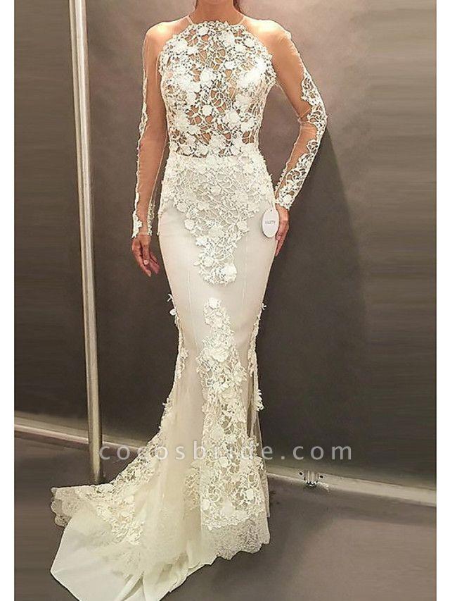 Affordable Mermaid Plus Size Long Sleeve Wedding Dresses