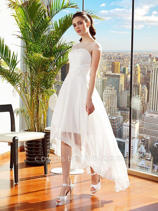 A-Line Wedding Dresses Bateau Neck Asymmetrical Chiffon Cap Sleeve Casual Vintage See-Through Backless