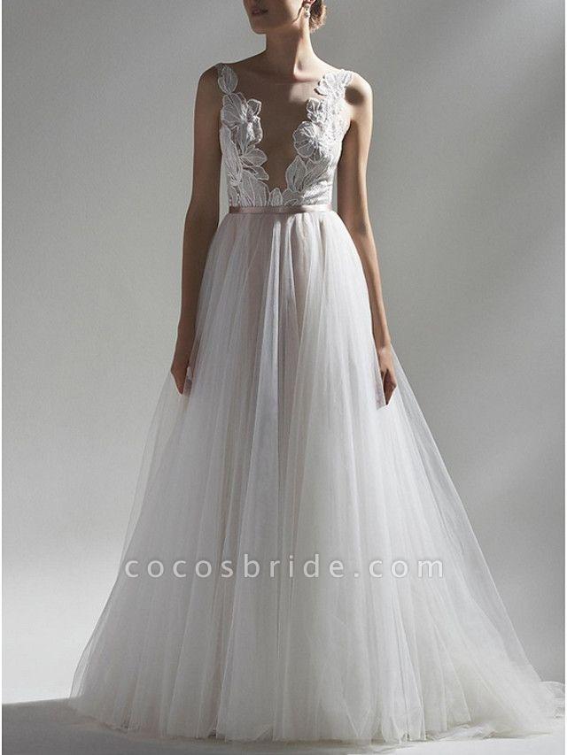 A-Line Wedding Dresses V Neck Sweep \ Brush Train Lace Tulle Regular Straps Romantic Boho Plus Size