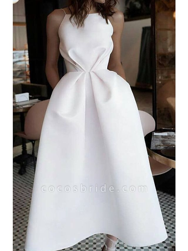 Ball Gown Wedding Dresses Jewel Neck Ankle Length Satin Spaghetti Strap Formal Plus Size