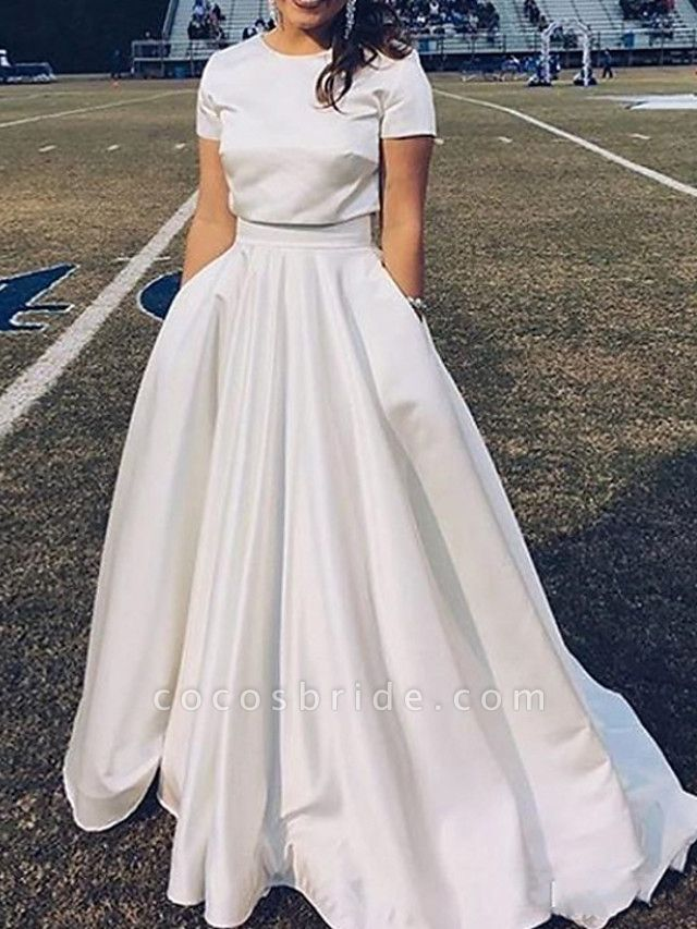 A-Line Wedding Dresses Jewel Neck Sweep \ Brush Train Satin Short Sleeve Casual Plus Size