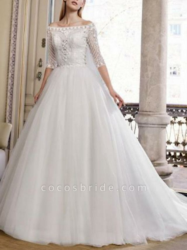 Ball Gown Wedding Dresses Off Shoulder Sweep \ Brush Train Tulle Half Sleeve Plus Size Illusion Sleeve