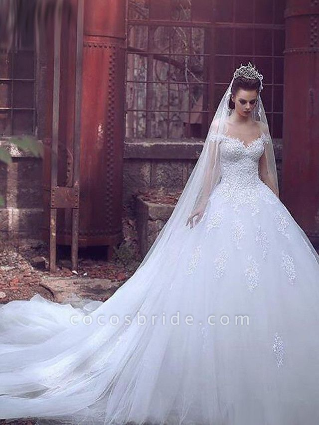 Ball Gown Wedding Dresses Off Shoulder Sweep \ Brush Train Lace Tulle Short Sleeve Glamorous Illusion Detail